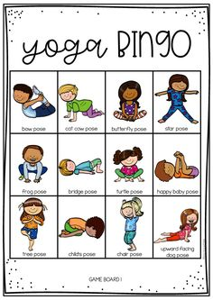 YOGA BINGO for kids. - This is a fun activity you can do all together at home. Throw a counter or a dice and perform which - Kids Yoga Poses, Yoga For Kids, Yoga For Men, Exercise For Kids, Preschool Yoga, Yoga Games, Gym Games, Bingo For Kids, Childrens Yoga