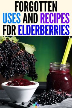 Wonderful Elderberries - Surprising Uses & Recipes Best Elderberry Recipe Ideas for Health and Wellbeing! This collection of the best elderberry recipes will show you how to make jam, jelly, syrup, gum. Elderberry Uses, Elderberry Recipes, Elderberry Benefits, Elderberry Jelly Recipe, Elderberry Gummies, Natural Cures, Natural Health, Natural Treatments, Natural Foods