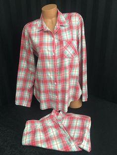 a0482291339 Victoria s Secret Flannel PJ Pajama Set Pink Plaid L Large  VictoriasSecret   PajamaSets  Everyday