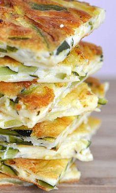 SCARPACCIA DE COURGETTES AU PARMESAN Préparation: 15 mn Cuisson: 20-25 mn Pour une galette de la taille d'une plaque à biscuit 1 kg de petites courgettes 10 cébettes (ou petits oignons blancs) 4 gousses d'ail 4 oeufs 1 tasse de lait et d'eau mélangés 8 càs (bombées) de farine 10 càs de parmesan râpé Sel poivre et huile d'olive