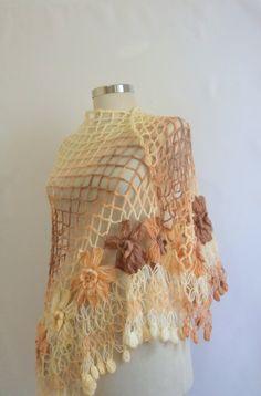shawl,Caramel ,Brown ,Cream,Triangle ,warm,handknit ,Stole, Bolero, trend,wrap,springlux fashion,wedding bridal bridesmaid. $48.90, via Etsy.