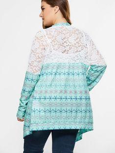 Plus Size Lace Trim Tribal Cardigan - Tribal Cardigan, Sweater Cardigan, Plus Size Cardigans, Woman Beach, Cheap Clothes, Online Shopping Stores, Summer Tops, Lace Trim, Fashion Dresses