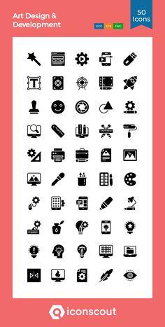 Art Design & Development  Icon Pack - 50 Glyph Icons I Icon, Icon Font, Download Art, Branding Design, Logo Design, Medical Icon, Graphic Projects, Glyph Icon, Travel Icon