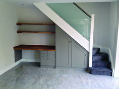 Under the stairs study/desk space. A great use of space for a small home study/o. Under the stairs study/desk space. A great use of space for a small home study/office. Bespoke Design by Anthony Mullan furniture. Under Basement Stairs, Office Under Stairs, Space Under Stairs, Basement Office, Under The Stairs, Shelves Under Stairs, Staircase Storage, Under Stair Storage, Staircase Design