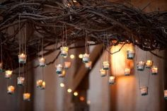 A little grape vine/entwined twigs combines with mini tea lights