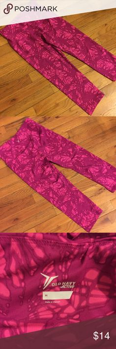 Old Navy Activewear Crops Super comfy work out crops from Old Navy. Pink pattern is super cute and different. Super stretchy with hidden pocket in the waist for keys or cards when running. High waisted. Worn very few times and in great condition!  Non-smoking and pet free home. Reasonable offers welcome! 30% off bundles. Old Navy Pants Track Pants & Joggers