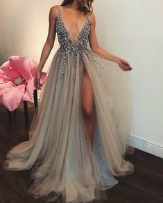 Grad dresses, homecoming dresses, formal dresses, evening dresses, grey p. Grey Evening Dresses, Grey Prom Dress, Two Piece Homecoming Dress, Elegant Dresses, Pretty Dresses, Evening Gowns, Beautiful Dresses, Formal Dresses, Evening Party