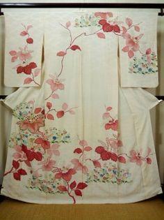 G0629M Used Japanese Creamy Off White HOUMONGI formal by Silk. KIRI paulownia (Grade C)