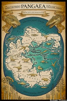 The Supercontinent Pangaea of the Triassic Period - A map of the Earth around 250 to 200 million years ago featuring Gondwanna, Laurasia and Pangaea the Supercontinent. Populated with Dinosaurs, Therapsids, Pterosaurs, and other prehistoric beasties.