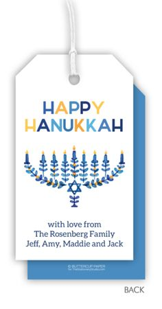 Personalized Modern Floral Menorah Hanging Gift Tags