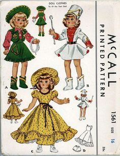 ORIGINAL Doll Clothes PATTERN 1561 for 16 in Toni by Ideal P 91 Sparkle Plenty