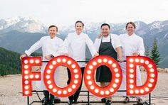 FOOD & WINE Best New Chef alums Daniel Boulud, Thomas Keller, David Chang and John Besh at the top of Aspen Mountain. Photo by Allan Zepeda. #fwclassic