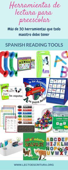 Más de 30 herramientas para la enseñanza de la lectura que todo maestro debe tener. Excelentes herramientas de lectura para la enseñanza del español, para programas de lectura bilingües o dual language de nivel preescolar.