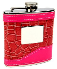 New 2-Tone Pink 6 oz Wrapped Alcohol Liquor Hip Wine Flask - By Top Shelf Flasks
