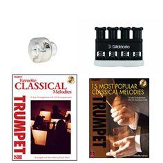 Trumpet Music Academy Advancement pack -Trumpet Embouchure Tool; Adjustable Hand Exerciser + (Classical Music Book Bundle) Trumpet Accessories, Trumpet Music, Trumpet Players, Teaching Tools, Classical Music, Packing, Book, Bag Packaging, Books