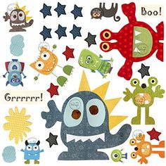 DesignByMaya Monsters Wall Decals  Play Room or Nursery art decor Boo Grrrr green blue yellow red orange wall Stickers for kids playroom * Check out this great product. (Note:Amazon affiliate link)
