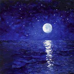 Moon and stars painting ocean art original oil by JanMatsonArt