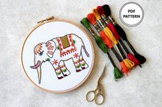 Hand Embroidery PDF pattern for Elephant. Make your own hand embroidered wall art with Elephant embroidery pattern!! This pattern is designed to fit in a 6 inch hoop.  THIS IS A PDF DIGITAL PATTERN AND IS AN INSTANT DOWNLOAD. Once you have checked out you will receive a link to download your Diy Embroidery Kit, Floral Embroidery Patterns, Learn Embroidery, Modern Embroidery, Hand Embroidery Designs, Embroidery Stitches, Embroidery Dress, Gifts Love, Elsa