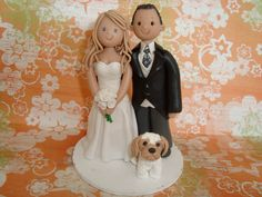Customized Bride And Groom With Pet Wedding Cake Topper. $130.00, via Etsy.