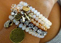 Jenni - 5 strand stretch Crystal Stretch Bracelet with love, lock, bird charms - Sand, Cream