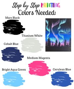 How to Paint Northern Lights With Silhouette Skyline - Step By Step Painting How To Make Canvas, What Is Canvas, Oil Painting Flowers, Light Painting, Wine Painting, Painting Art, Acrylic Painting Tutorials, Painting Techniques, Jackson Pollock