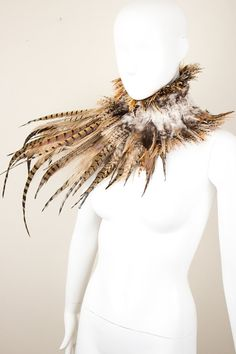 Assymetrical  Natural Feathers Neck Corset with by collectivechaos, $175.00