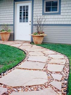 Easy walkway idea:  I like this with fewer, wider spaced stones and contrasting pebbles.