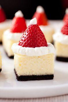 Cheesecake Bites With Santa Hats christmas christmas recipes cheesecake christmas pictures santa christmas cake christmas food art food ideas for christmas chrismas party favors