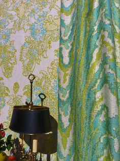 New for Fall. Boccanera is a loosely drawn pattern of scrolling leaves and flowers inspired by late 17th century Italian silk cut velvets. Even more freedom was taken in designing the coordinating moiré and stripe (not shown).