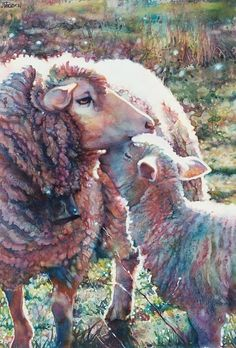 Sheep By Jeannie Vodden art Watercolor, Art Painting, Animal Art, Artist Inspiration, Watercolor Paintings, Illustration Art, Art, Animal Paintings, Sheep Art, Art Exhibition