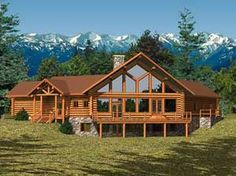 Mark & I dream about having a log cabin somewhere, someday...look at all those windows for the view...