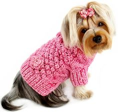 Pink Bobble Stitch Dog Sweater , Hand Knitted - $31.95