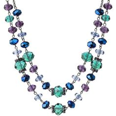 Teal Multicolored Glass Strand Necklace ($25) ❤ liked on Polyvore featuring jewelry, necklaces, glass jewelry, colorful jewelry, multicolor necklace, teal necklace and polish jewelry