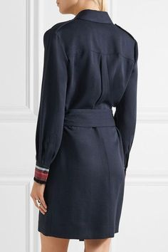 Victoria, Victoria Beckham - Belted Grosgrain-trimmed Twill Shirt Dress - Navy - UK10