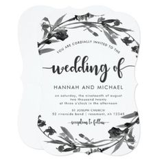 Elegant Floral Wreath Wedding Invitation - script gifts template templates diy customize personalize special