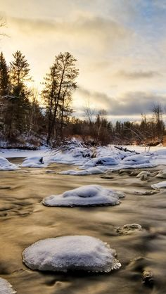 Wallpaper iPhone 5 640x1136 ice, water, river, snow, fur-trees Background Download Apple Picture, Image WallpapeprsCraft