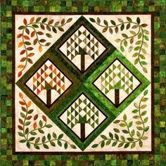 """Here is a beautiful """"Four Seasons"""" quilt by Laura Blanchard of Plum Tree Quilts. This 60"""" x 60"""" quilt gives us a new appreciation for the..."""