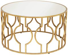 The Fara collection offers beautiful openwork table designs to add interest and modern appeal to your living space. This round coffee table design features a silver glass tabletop over an openwork base with a modified circular motif. A timeless look in antique gold leaf finish.