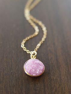 Delicate Pink Druzy Necklace 14k Gold