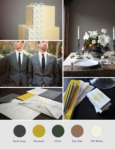 Color Ideas: Elegant gray and mustard yellow winter wedding