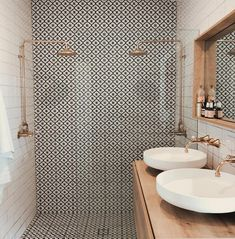 Beautiful patterned tiles are the focus of this bathroom teamed with off-white s. - - Beautiful patterned tiles are the focus of this bathroom teamed with off-white subway tiles and metallic accents Source by shelbytomasik Bad Inspiration, Bathroom Inspiration, Bathroom Renos, Small Bathroom, Bathroom Ideas, Neutral Bathroom, Boho Bathroom, Bathroom Art, Half Bathrooms