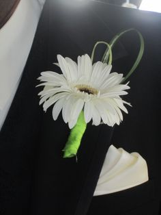 white gerbera daisy boutonniere. I would definitely cover the stem with black ribbon though.
