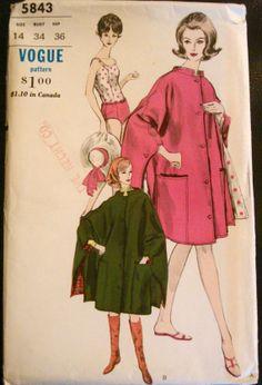1960s Cape & One Piece Swimsuit Sewing Pattern UNCUT Vintage Vogue 5843 Super RARE pattern.