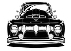 Ford Truck Illustration by Clint Ford, via Behance 1951 Ford Truck, Lifted Ford Trucks, Pickup Trucks, Vintage Trucks, Old Trucks, Antique Trucks, Logo Ford, Mustang, E Skate