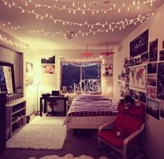 Lights. Pictures. Typical hipster bedroom. I love the lights hanging from the ceiling idea!