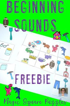 This Beginning Sounds Magic Square Puzzle is a great FREE download for your preschool, Kindergarten, and 1st grade students to work on letter sound matching. This would be a great center activity, game, word work station, or small group activity. Click through to go grab your FREE COPY now!
