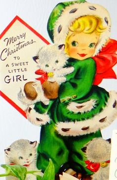 Vintage Girl with Kitten Christmas Card * 1500 free paper dolls Christmas gifts artist Arielle Gabriels The International Paper Doll Society also free paper dolls The China Adventures of Arielle Gabriel *