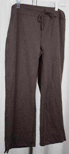 Lucy Womens Brown Stretch Knit Tie Waist Cropped Yoga Pants Size Medium #Lucy #PantsTightsLeggings