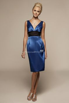classic royal blue v neck empire knee length satin bridesmaid dress with pencil skirt and back corset closure