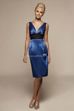 classic royal blue v neck empire knee length satin bridesmaid dress with pencil skirt and back corset closure